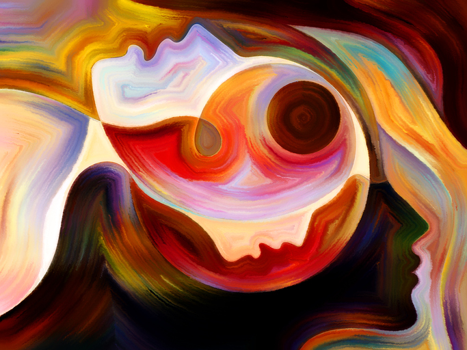 Colors of the Mind series. Background design of elements of human face, and colorful abstract shapes on the subject of mind, reason, thought, emotion and spirituality